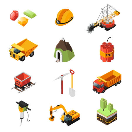 Isometric Mining Industry Elements Set vector illustration.
