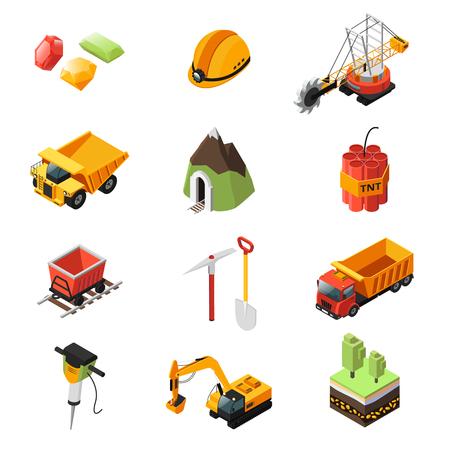 Isometrische mijnbouw industrie elementen instellen vectorillustratie.