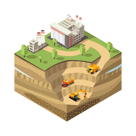 Colorful Isometric Diamond Mining Concept vector illustration.