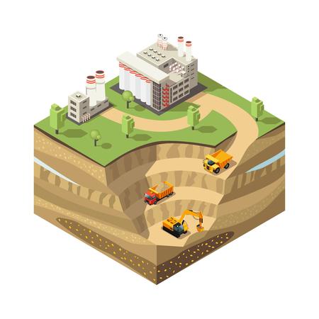 Colorful Isometric Diamond Mining Concept vector illustration.