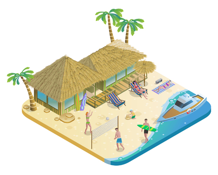Isometric Summer Beach Vacation Concept