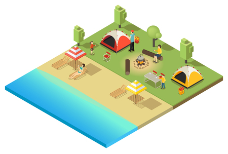 Isometric camping and hiking template with people relaxing and sunbathing on coast isolated vector illustration