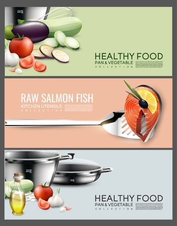 Realistic Cooking Elements Horizontal Banners 向量圖像