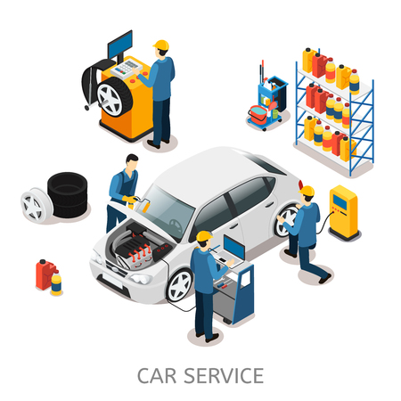 Isometric Car Repair Center Concept
