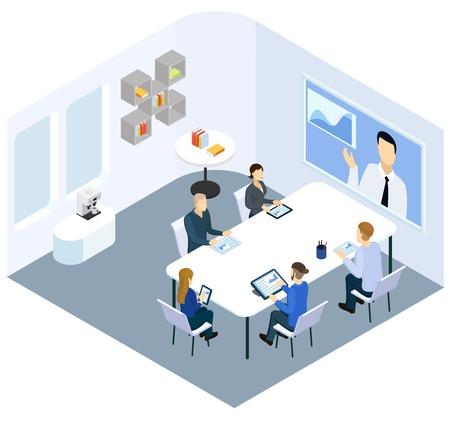 Concepto de entrenamiento de negocios isométrica