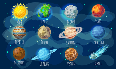 Colorful Space Elements Set Stok Fotoğraf - 80624871