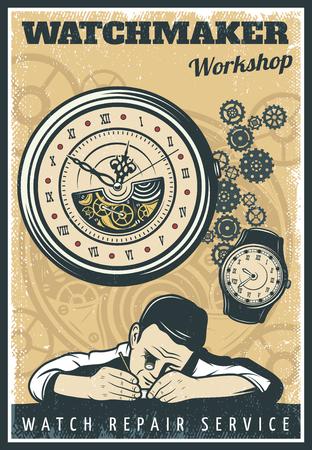 Het Vintage Poster van de Reparatie van Horloges