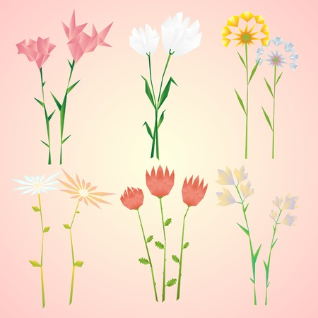 Abstract Natural Spring Flowers Collection