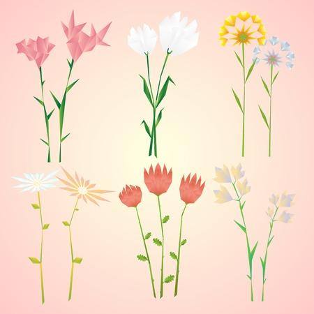 Abstracte Natuurlijke Lente Bloemen Collectie Stock Illustratie