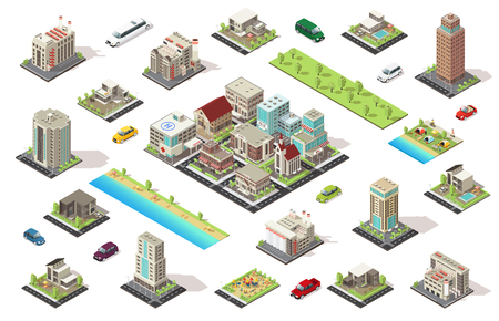 Isometric City Constructor Elements Set 矢量图像