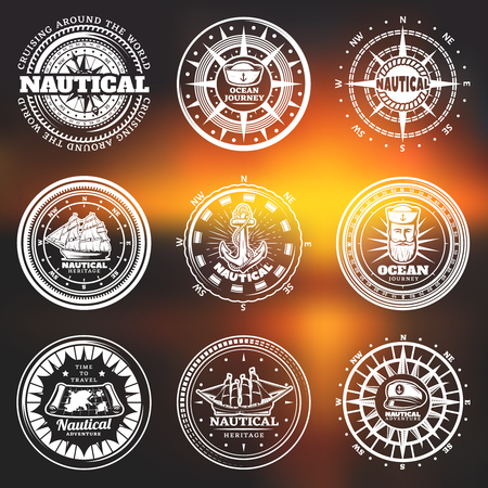 Vintage White Nautical Round Labels Illustration