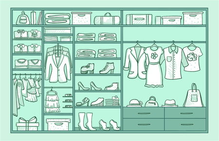 Hand Drawn Female Wardrobe Template Illustration