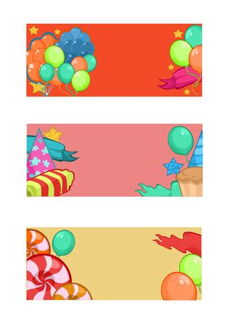 children party: Colorful Happy Birthday Horizontal Banners Illustration
