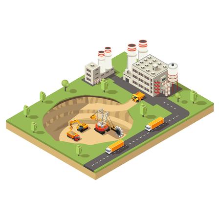 Isometrische mijnbouw industrie sjabloon