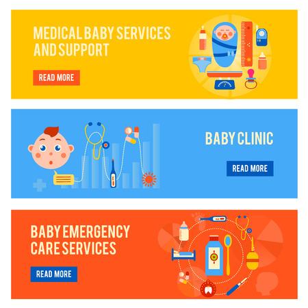stethoscope boy: Baby Health Horizontal Banners Set