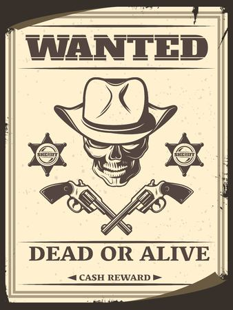 Vintage Monochrome Wild West Wanted Poster Illustration