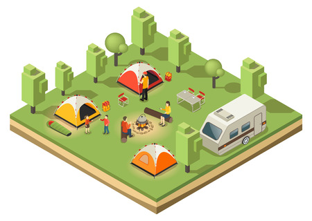 sleeping bags: Isometric Traveling Camping Concept