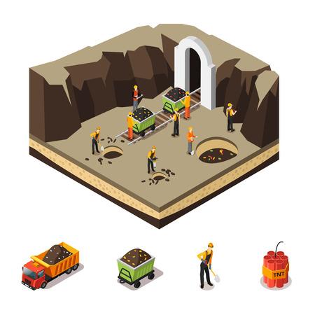 Isometrische Coal Extraction Concept Stockfoto - 80632866