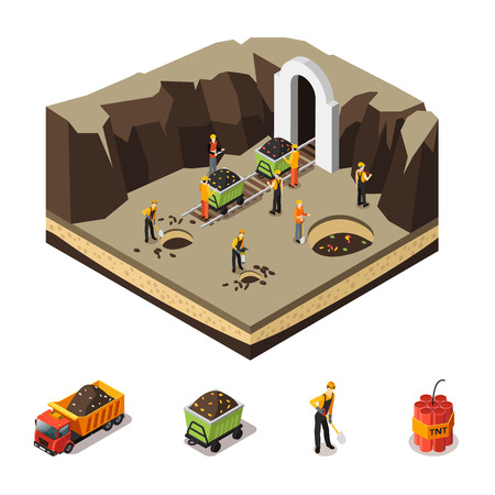 Isometric Coal Extraction Concept Illustration