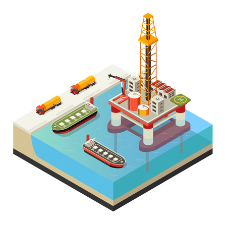 Isometric Water Oil Platform Concept Illustration