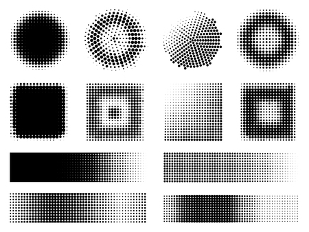 Monochrome Halftone Effects Design Elements Set