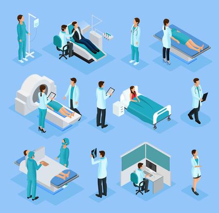 等尺性医師と患者  イラスト・ベクター素材