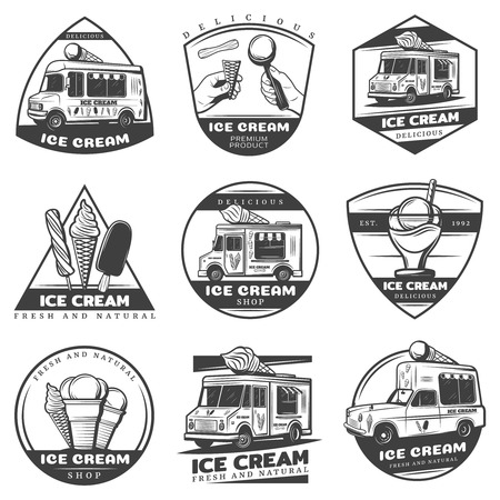 Monochrome Vintage Ice Cream Labels Set Illustration