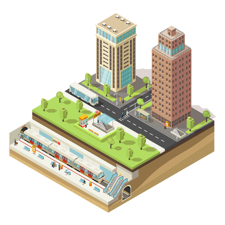 아이소 메트릭 다채로운 도시 개념 일러스트