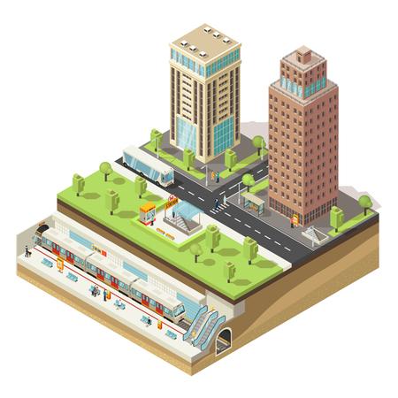 Isometrisch Kleurrijk Cityscape Concept Stock Illustratie
