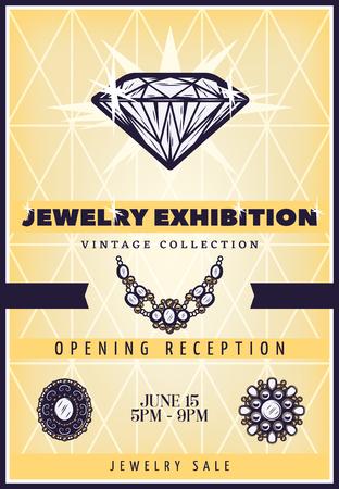 Vintage mooie sieraden tentoonstelling Poster