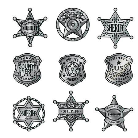 Colección de las insignias del sheriff de plata.