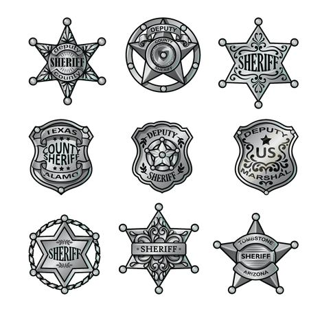 Silver Sheriff Badges Collection. Illustration