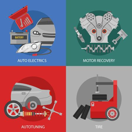 Platte professionele auto reparatie vierkante samenstelling Stockfoto - 80725399