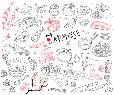 Hand drawn illustration of Japanese cuisine elements set.