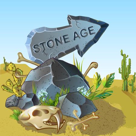 Cartoon Stone Age Pointer Template