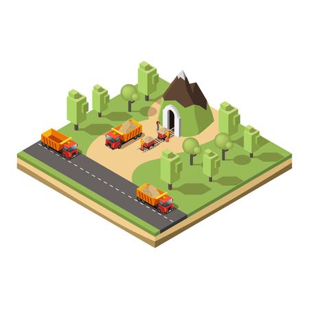 Isometric Coal Extraction Concept Ilustrace