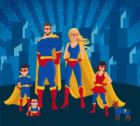 Family Of Superheroes Together Poster