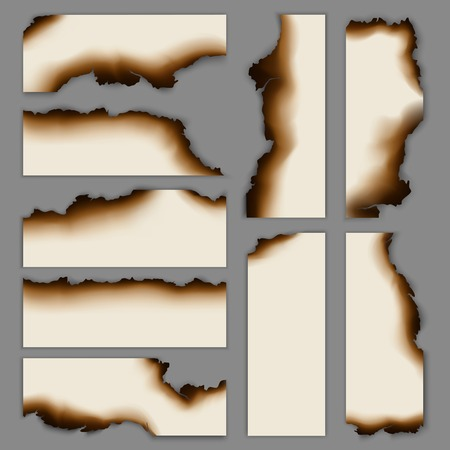 현실적인 탄된 불태운 종이 배너 컬렉션