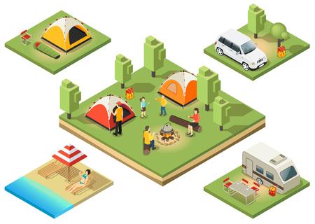 等尺性キャンプ領土構成  イラスト・ベクター素材