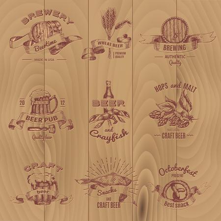 Beer Vintage Design Emblems Set Illustration