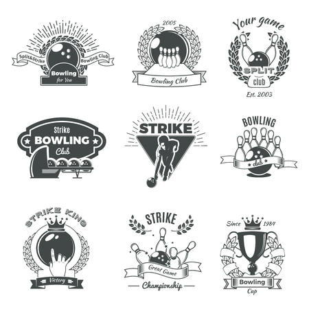 Bowling Monochrome Vintage Style Emblems  イラスト・ベクター素材