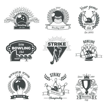 Bowling Monochrome Vintage Style Emblems Illustration