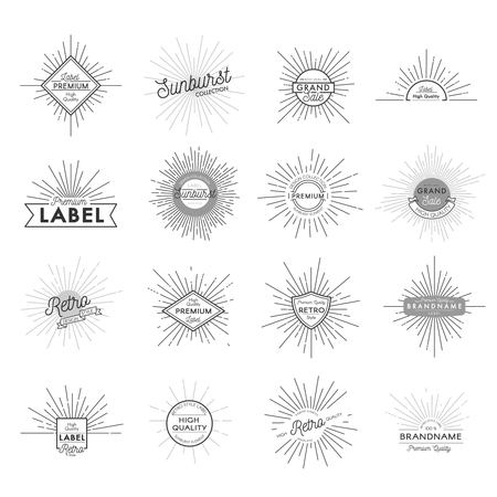 Vintage Monochrome Sunburst Labels Set