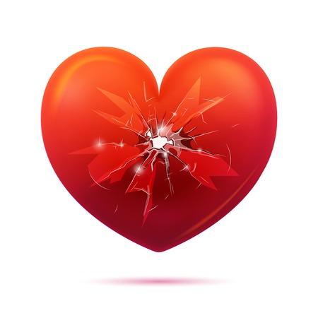 Broken Glass Heart Concept Vectores