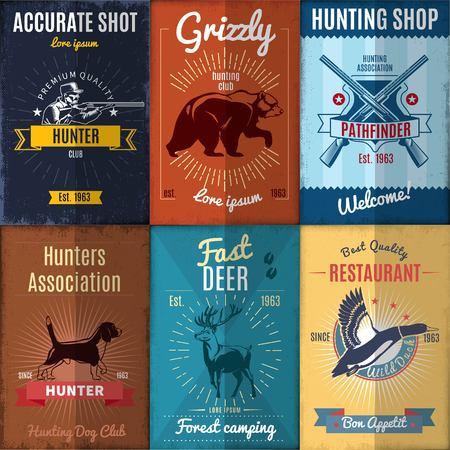 Colección de carteles de caza del vintage
