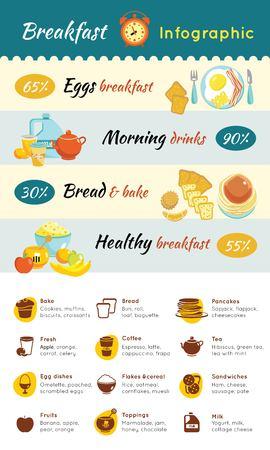 Modèle coloré d'infographie alimentaire pour petit-déjeuner Banque d'images - 80996906
