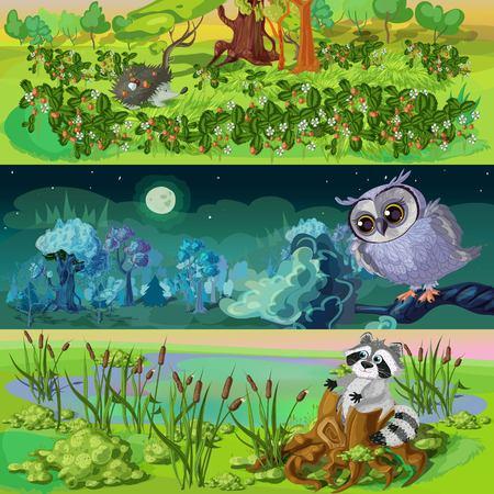 Cartoon Tiere Banner Set Standard-Bild - 80996728