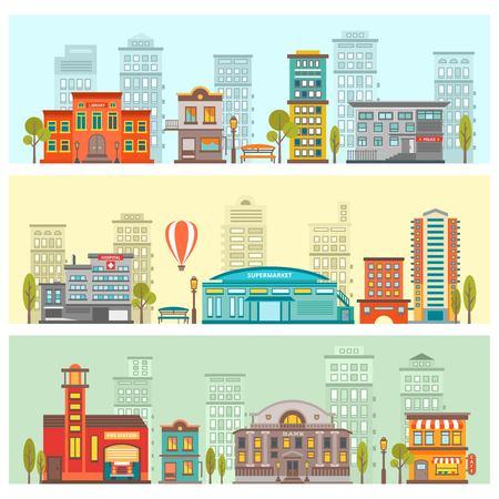 Colorful Cityscape Horizontal Banners. Ilustração
