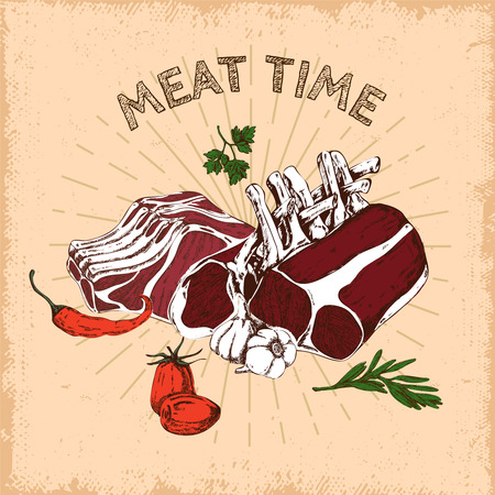 Meat Time Hand Drawn Design. Illustration