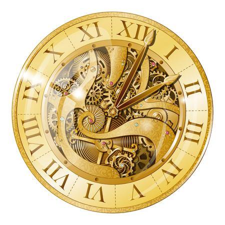 Vintage Gouden Horloge Illustratie. Stockfoto - 80951504